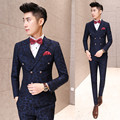 New ! Korean men's clothing slim printing suits three piece male fashion Nightclub stage singer costumes formal dress M-2XL