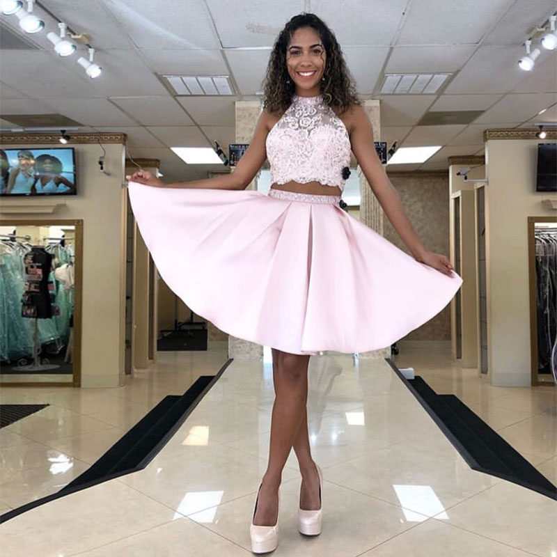 Robe De Cocktail Sexy 2 Pieces Pink Lace Cocktail Dresses Short Mini Homecoming Dress Appliqued Prom Party Gown
