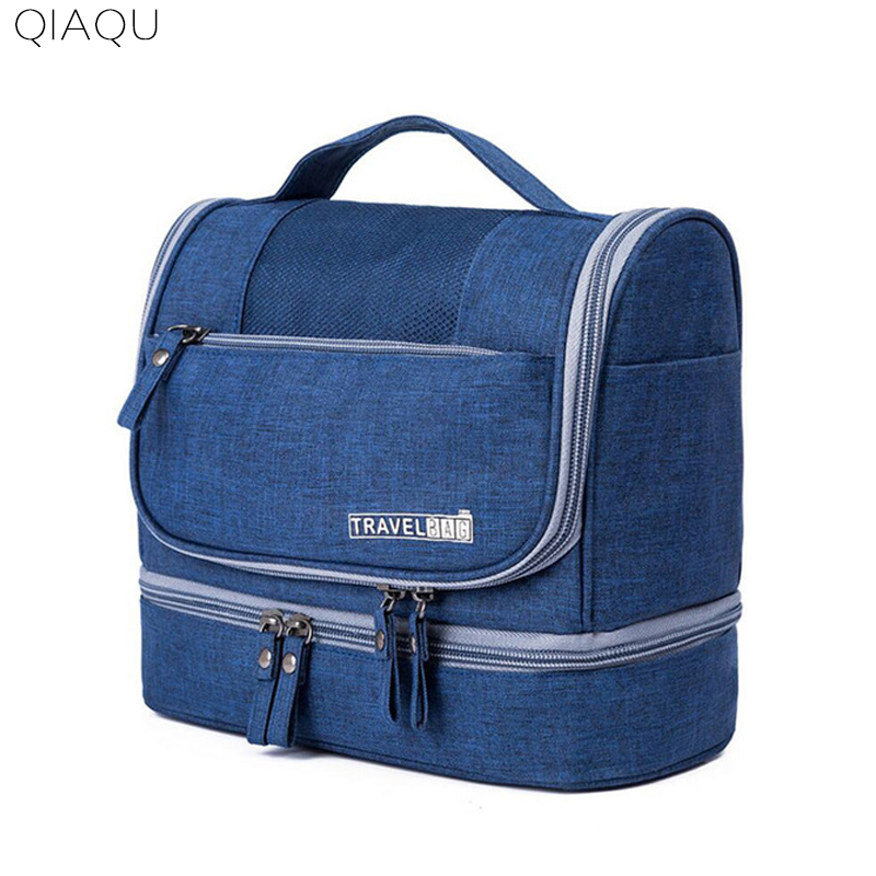 QIAQU Hanging Toiletry Bag Women Travel Waterproof Oxford Cosmetics Bag Organizer for Wet and Dry Separation Makeup Kit for Men philips brl130 satinshave advanced wet and dry electric shaver
