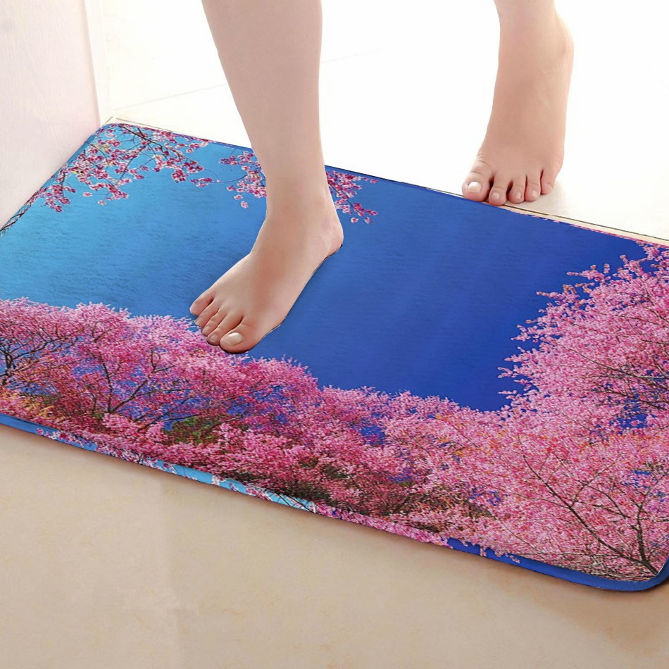 Cherry blossoms Style Bathroom Mat,Funny Anti skid Bath Mat,Shower Curtains Accessories,Matching Your Shower Curtain