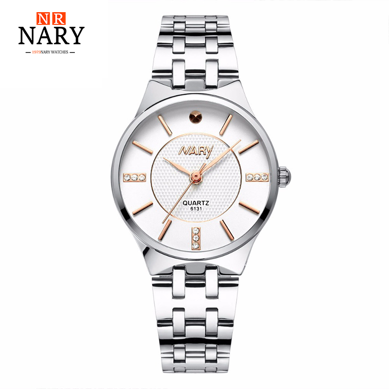 Luxury Brand NARY Relogio Feminino Clock Women Watch Stainless Steel Watches Ladies Fashion Casual Watch Quartz Wristwatch silver diamond women watches luxury brand ladies dress watch fashion casual quartz wristwatch relogio feminino