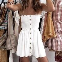BerryGo повседневное Спагетти ремень женское Короткое платье пуговицы ruched плюс размеры летний сарафан пикантные однотонные пляжные женс