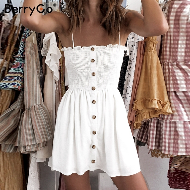 BerryGo Casual spaghetti strap women short dress Buttons ruched plus size summer sundress Sexy solid beach female vestidos dress