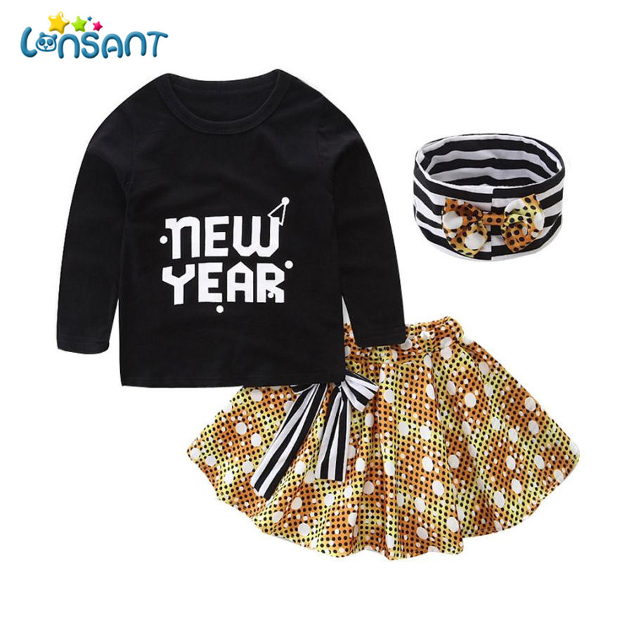 LONSANT 2018 Girls Dress Set Baby Girls Letter Print T-shirt Tops + Skirt + Hairband Fashion Roupas Infantis Menino Dropshipping
