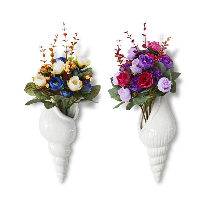 Ceramic Wall Flower Decor: Conch Wall Hanging Decorative Vases Pure White Ceramic