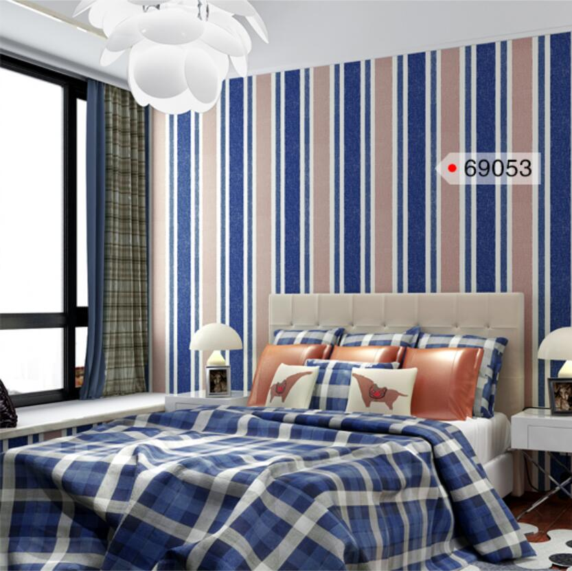 ФОТО Wallpaper non-woven blue vertical stripe wallpaper modern brief tv child room wall decor paper