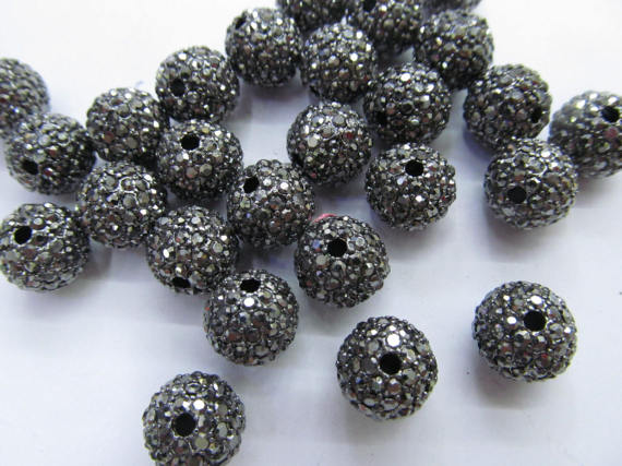 High Quality 100pcs 6-14mm,Bling Micro Pave Crystal grey diy Ball beads, Micro Pave Hematite Black Findings Charm, Round BHigh Quality 100pcs 6-14mm,Bling Micro Pave Crystal grey diy Ball beads, Micro Pave Hematite Black Findings Charm, Round B