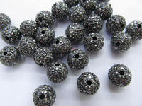 High Quality 100pcs 6 14mm,Bling Micro Pave Crystal grey diy Ball beads, Micro Pave Hematite Black Findings Charm, Round B