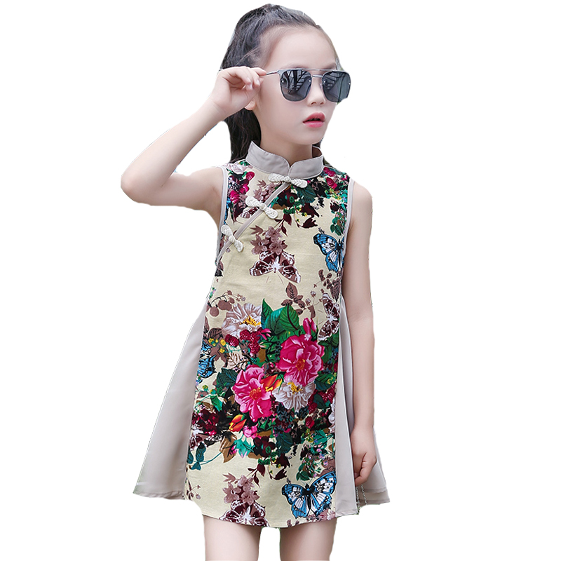 Girls Dresses Cotton Linen Chinese Style Cheongsam For Girls Embroidered Peony Performance Party Dress Summer Baby Kids Qipao 12 2017 autumn chinese style girl dress cotton short sleeve chinese cheongsam for kids baby girls qipao girls clothes