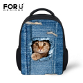 FORUDESIGNS 3D Print Jeans Pocket Cat Dog School Bags  Kids Preppy Style Casual Student Bags Children Book Bags for Kids