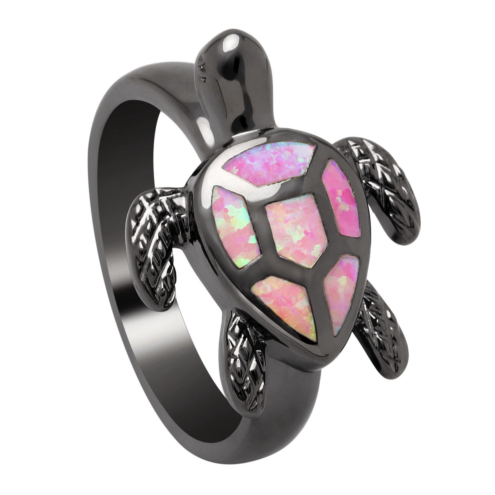 Vnfuru Black Gold Pink Tortoise Rings For Lover Fire Opal Ring Gift Sea Turtle Jewelry Animal Cute Lovely Design White Red