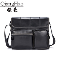 QiangHao Brand High Quality Crossbody Handbag Luxury Scrub 100 Genuine Leather Shoulder Bags Minimalism Flap Durable
