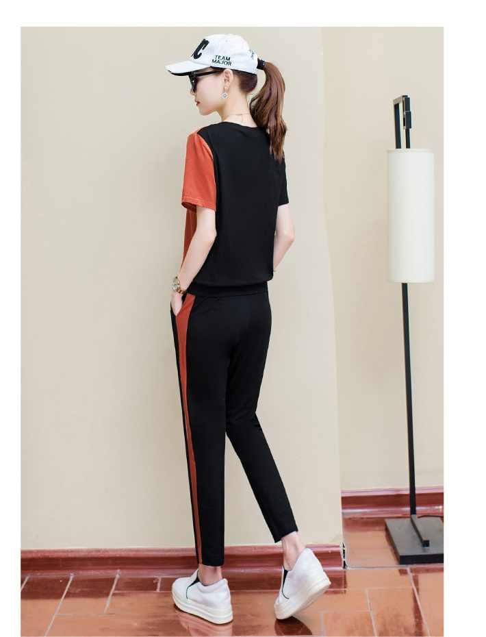 Спортивный костюм Женский Летний Новый Женская одежда большого размера костюм Мода 2 Кол-во изделий комплект для отдыха беговой костюм женские спортивные костюмы 956