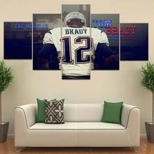 5 Panel / stuk HD Print Tom Brady Sport star moderne muur posters Canvas Schilderkunst Voor thuis woonkamer decoratie