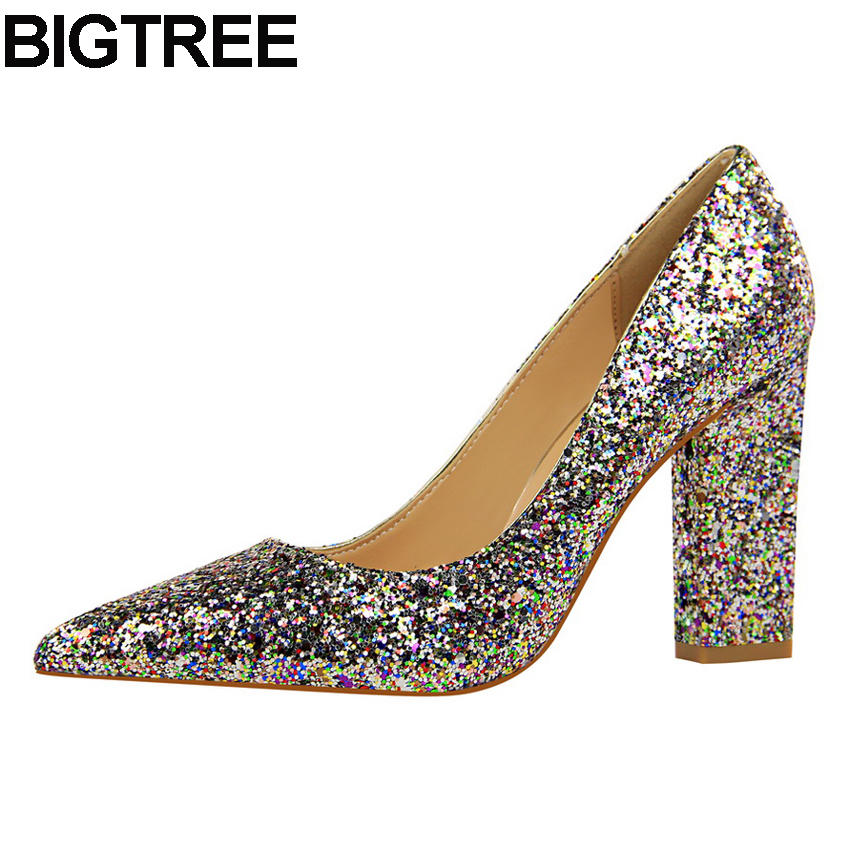 BIGTREE Sexy Fashion Office Ladies High Heels Women Bling Sequined Glitter Pumps Wedding Dress Shoes Thick Square Chunky Heels metallic platform dress pumps colorized chunky heel sandals bling bling sequined bridal shoes glittering paillette thick heels