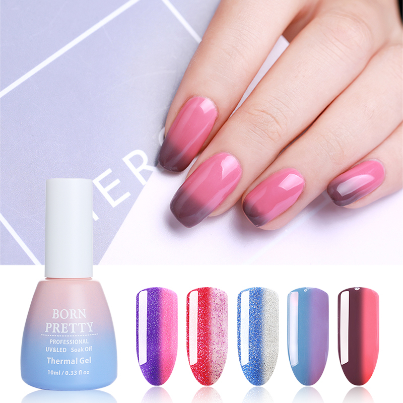 BORN PRETTY 10ML 22 Colors Thermal Shimmer Glitter Gel Temperature Color Changing Nail Art Soak Off UV Gel Nail Lacquer