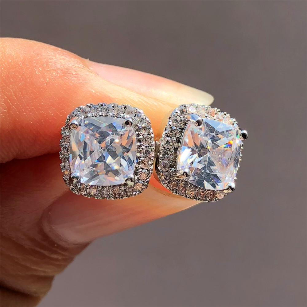 Luxury Female Crystal Zircon Stone Earrings Fashion 925 Sterling Silver Filled Jewelry Vintage Double Stud Earrings For Women