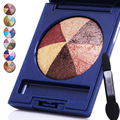 3D Glitter Pigment Earth Tone Eye Nude Makeup Mineral Baked Eyeshadow Palette 6 Colors Smokey Shimmer Eye Shadow Set With Brush