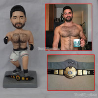 boxing golden belt winner figurines miniatures handmade memorial gift souvenir mini statue personalized home decoration dolls