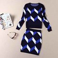 Hot sale 2016 Women Set Fashion Woman Knitted Tops+Skirts Sets Patchwork Ladies Winter Clothes Sweaters and pencil skrits Suits