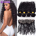 Raw Indian Deep Wave With Closure 3 Pcs Indian Deep Curly Virgin Hair With Lace Frontal Closure 13x4 Lace Frontal With Bundles