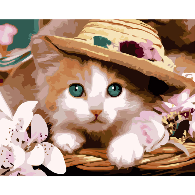 1c3746e3 HAOCHU Modern Cute Cat with Hat Wall Picture Canvas Oil Painting DIY  Painting By Numbers Home Living Room Decor Gifts Art Poster