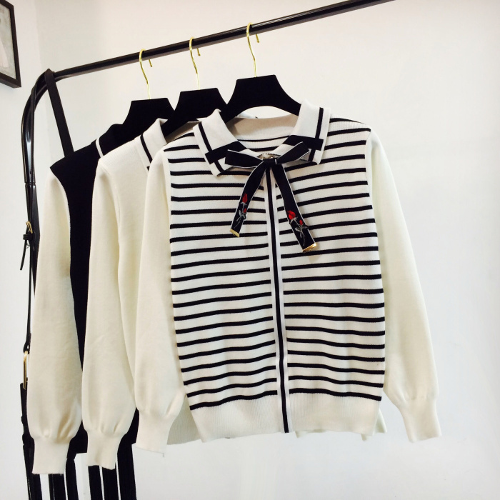 2018 New Autumn Winter Women's College Wind Stripes Sweater Student Girls Bow Stitching Pullover Knit Shirt Tops