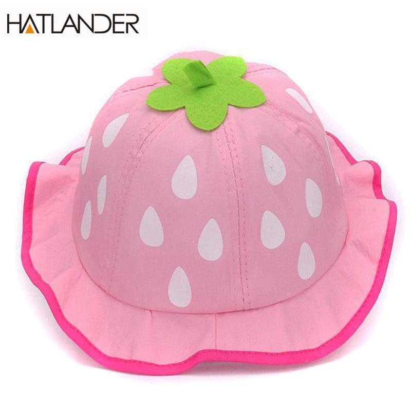 Hatlander 2017 tavaszi eper baba vödör kalap aranyos pamut kisgyermekek lányok nap kalap szép strand kalap 6-24 hónapos gyerekek baba sapka
