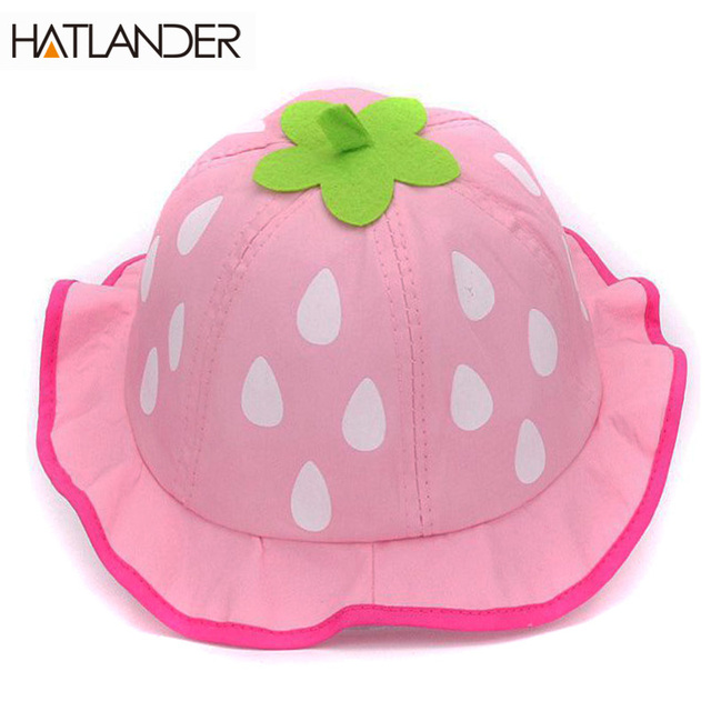 Hatlander 2017 spring strawberry baby bucket hat cute cotton toddlers girls  sun hat lovely beach hat 6-24month kids baby hats f0697cff37f0