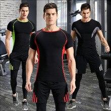 3pcs Summer Men Sportswear tracksuit Elastic Compression Leggings Sweatshirt+pants+short Running Jogger Fitness Gym Training Set