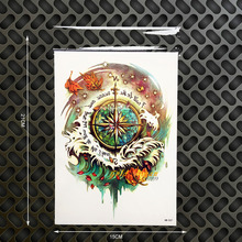 Henna Compass Designs Waterproof Temporary Tattoo Sticker Men Wall Decal Home Decor 21x15CM WOmen Large Arm Tatoo Chest Shoulder