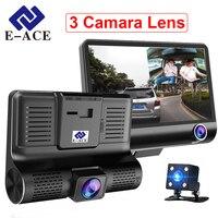 E-ACE Автомобильный Dvr 3 объектив камеры 4,0 дюймов видео рекордер Дэш Кэм Авто регистратор двойной объектив с камерой заднего вида DVRS видеокаме...