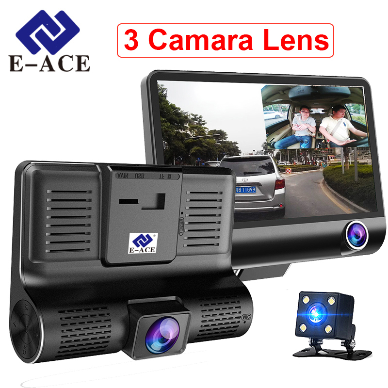 E-ACE Car Dvr 3 Camera Lens 4.0 Inch Video Recorder Dash Cam Auto Registrator Dual Lens With Rear View Camera DVRS Camcorder e ace car dvr 5 inch ips camera full hd 1080p dual lens rear view mirror camcorder auto video registrator dvr recorder dash cam