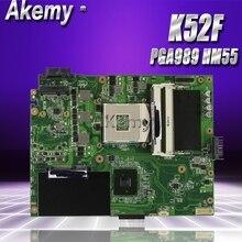 Akemy K52F материнская плата для ноутбука ASUS K52F X52N A52F K52 Тесты Оригинал материнская плата PGA989 HM55