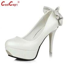 ผู้หญิงแพลตฟอร์มรองเท้าส้นสูงแฟชั่นผู้หญิงรอบนิ้วเท้าส้นปั๊มเซ็กซี่Bowtieกุทัณฑ์รองเท้าแต่งงานขนาด34-39 Z00322