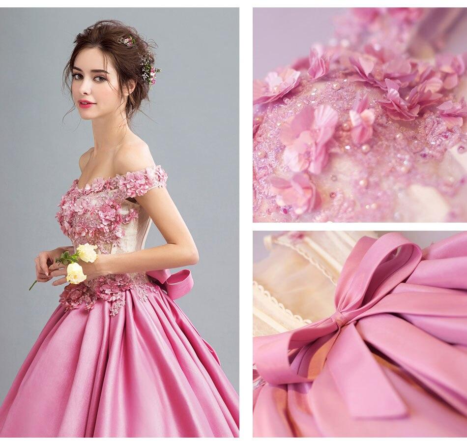 Vestido De Novia Romantic Flower Fairy Sweet Pink Evening Dress ...