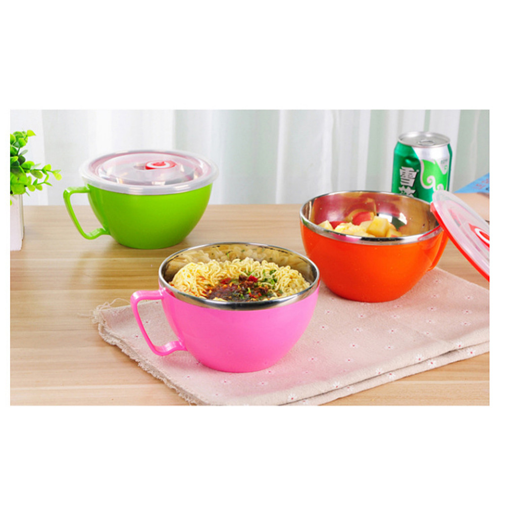 Online Shop 1PCS Double Layers Bowl Stainless Steel Instant