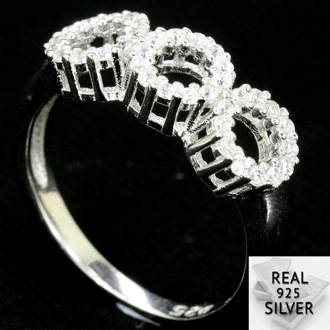 2.3g Real 925 Szilárd Sterling Ezüst Kerek Fehér Sapphire Női - Divatékszer