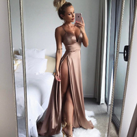 ShowMi Gold Women Satin Long Dresses 2017 Summer Club Party Vestidos Sexy Split Elegant Maxi Dress