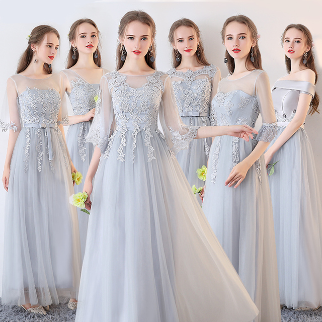 7c1ee1b0c Vestido De Noiva Novos Vestidos de Dama de honra Longo Bordado Lace Mangas  3 4