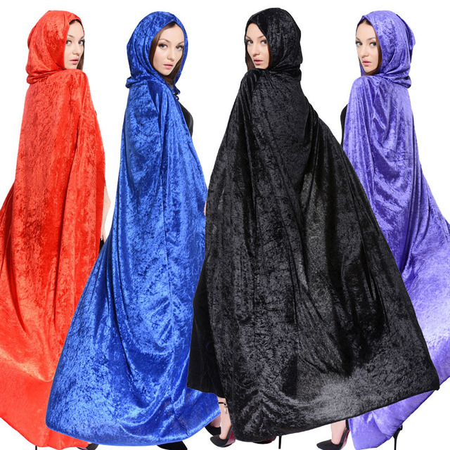 halloween cosplay witch wizard cloak with cape adult children