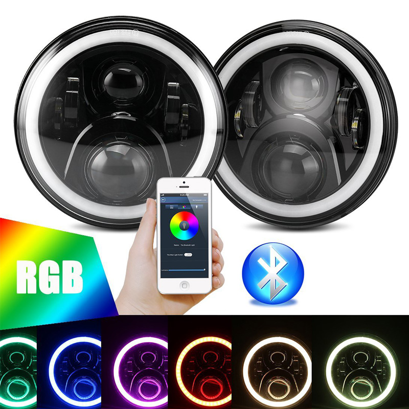 2018 2pcs 60W 7Inch Auto LED Headlights Remote Bluetooth Phone APP Control Head Lamps With RGB Halo Angle Eyes DRL For Wrangler touch free water saving chrome