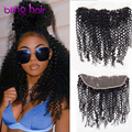 Ear to Ear Lace Frontal Closure With Bundles Raw Indian Virgin Hair Weave Kinky Curly 3 bundles With Closure Curly Good Quality