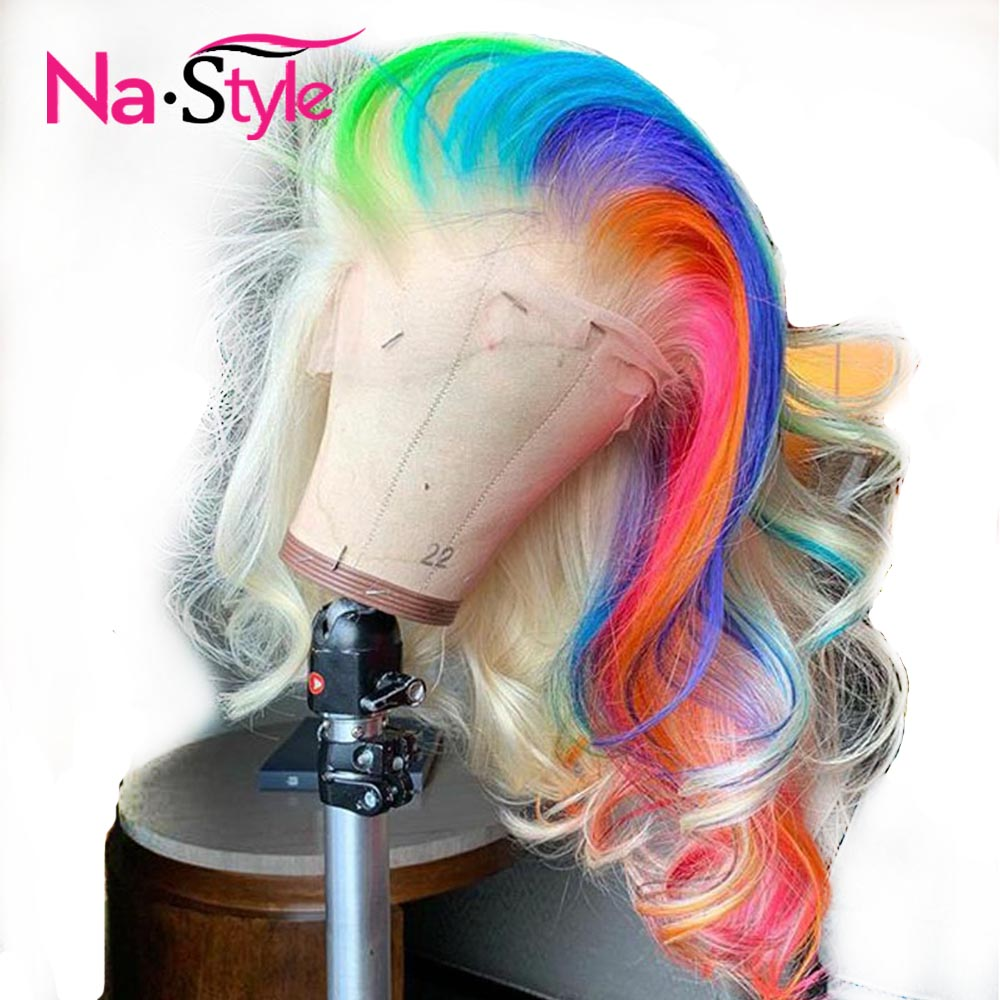 Colored Lace Front Wigs Human Hair Ombre Pink 613 Blonde Lace Front Human Hair Wigs Wavy Transparent Lace Wigs Remy Rainbow