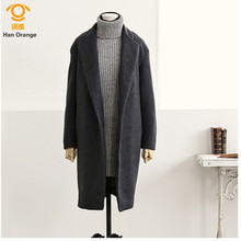2017 Autumn Winter Cocoon Style Long Coat Europe and The United States Slim Women Cashmere Overcoat Black/Dark Gray