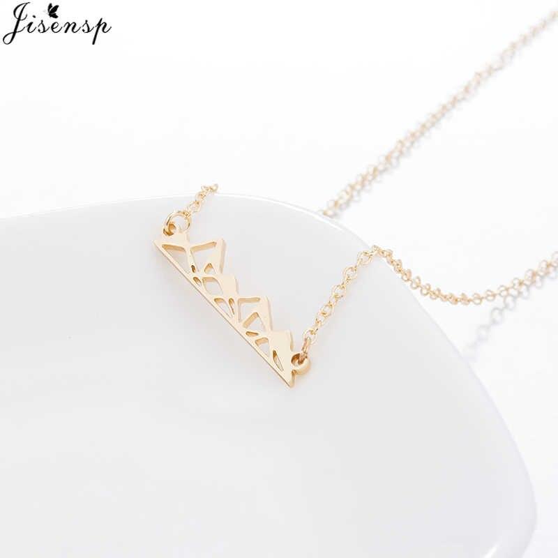 Jisensp unikalny styl złoty kolor górski naszyjnik dla kobiet mężczyzn biżuteria geometryczne piramidy naszyjnik erkek kolye