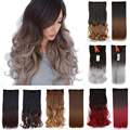 Ombre Hairstyles One Piece Hair Extension 5 Clips Clip in on Hairpiece 100%  Synthetic Natural Hair Piece Ombre Dip Dye Hair