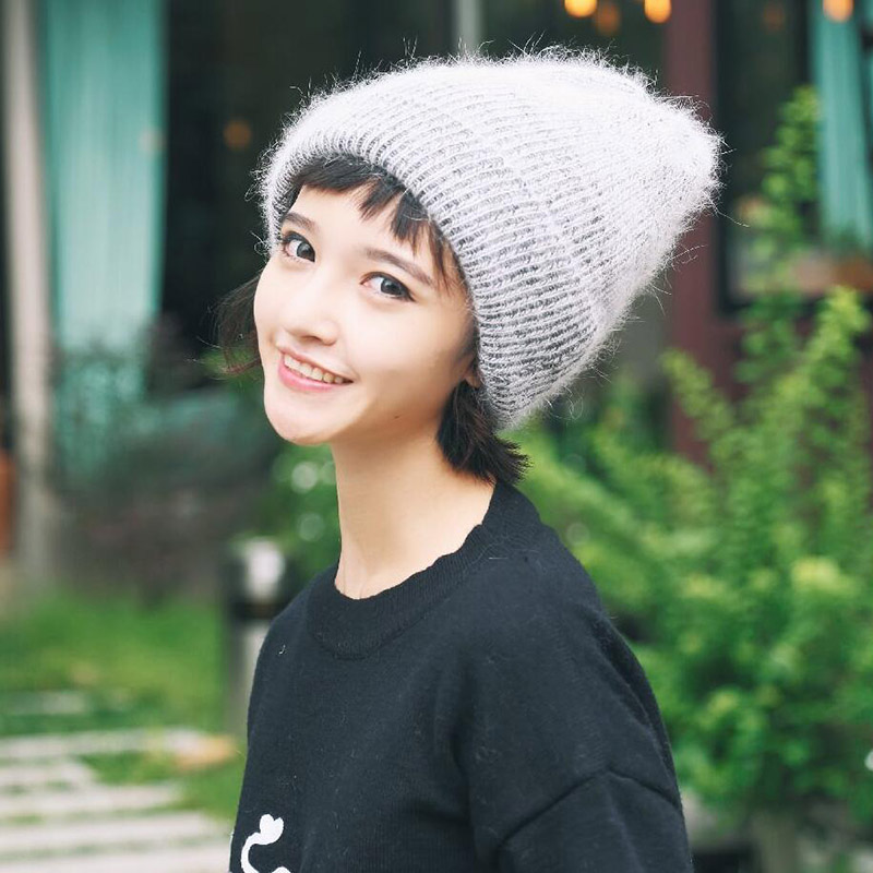BINGYUANHAOXUANNew Women 39 s Winter Kashmir Beanie Hats Ladies Knit Hat Women 39 s Rabbit Fur Hats Sweet Caps And Comfortable Hot Hat in Women 39 s Skullies amp Beanies from Apparel Accessories