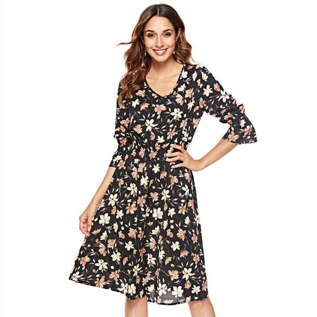 Aamikast Autumn Floral Women Dresses Multicolor Elegant Long Sleeve High Waist A Line Chic Dress Ladies Tie Neck Dress