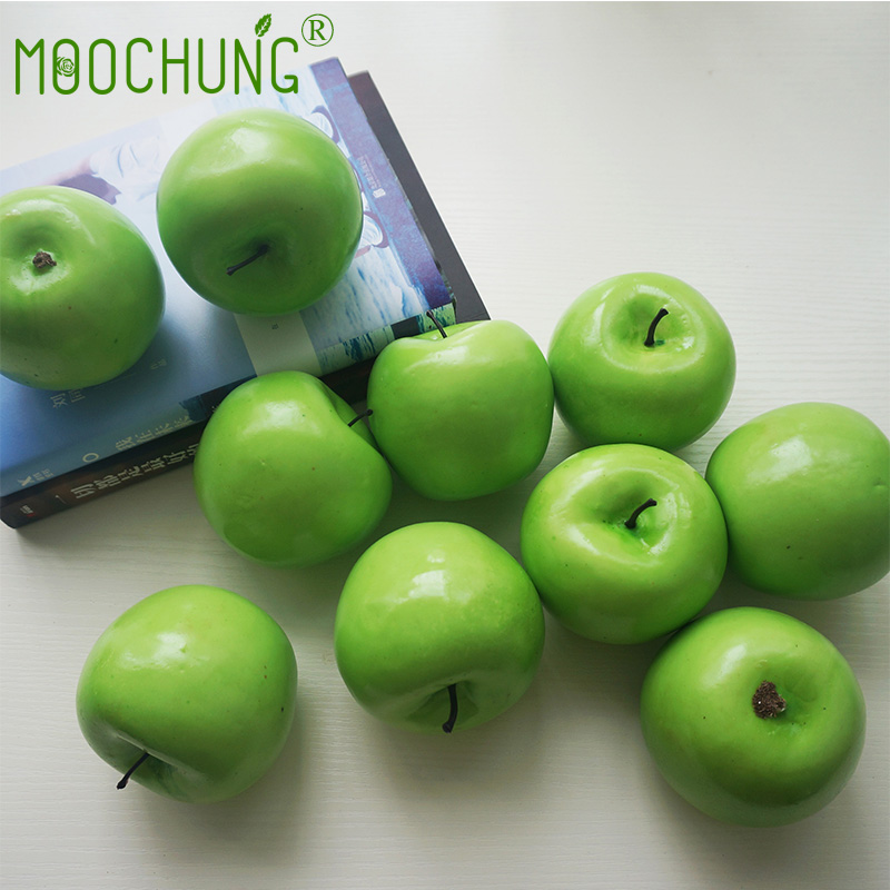6//12Pcs Artificial For Apple Fake Green Fruit Food Kitchen  Home Party Decor